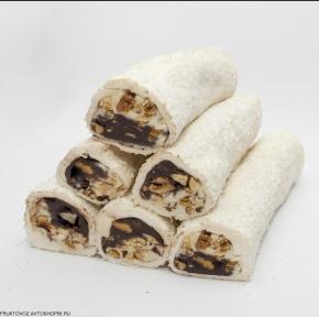 Лукум шоколадно-молочный с орехами в кокосе ~ 100 грамм